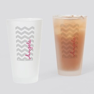 Personal name grey chevron Drinking Glass