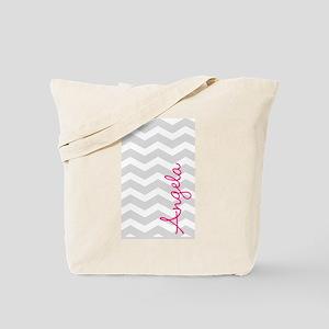 Personal name grey chevron Tote Bag