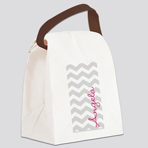 Personal name grey chevron Canvas Lunch Bag