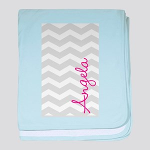 Personal name grey chevron baby blanket