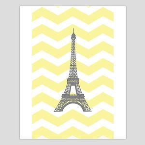 Gray Eiffel Tower Yellow Chevron Poster Design