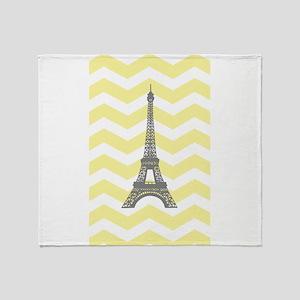 Gray Eiffel Tower Yellow Chevron Throw Blanket
