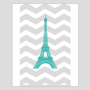 Turquoise Paris Grey Chevron Poster Design