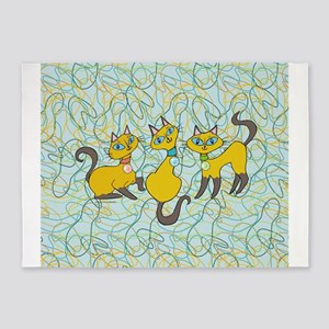 3 Siamese Cats with Retro Inspired Organic Shapes