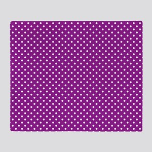Magenta Damask and Matching Polka Do Throw Blanket