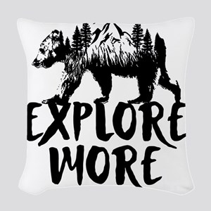 Explore More Bear Woods Woven Throw Pillow