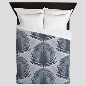 Stylized Peacock Feather - Grey Queen Duvet