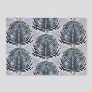 Stylized Peacock Feather - Grey 5'x7'Area Rug