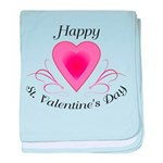 Happy Valentines Day with a Heart baby blanket