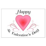 Happy Valentines Day with a Heart Posters