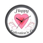 Happy Valentines Day with a Heart Wall Clock