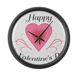 Happy Valentines Day with a Heart Large Wall Clock