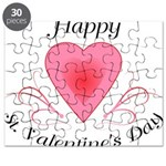 Happy Valentines Day with a Heart Puzzle