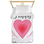 Happy Valentines Day with a Heart Twin Duvet