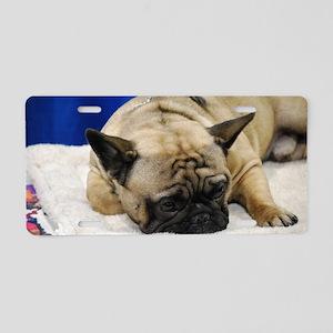 Sleeping French Bulldog Aluminum License Plate