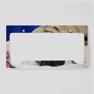 Sleeping French Bulldog License Plate Holder