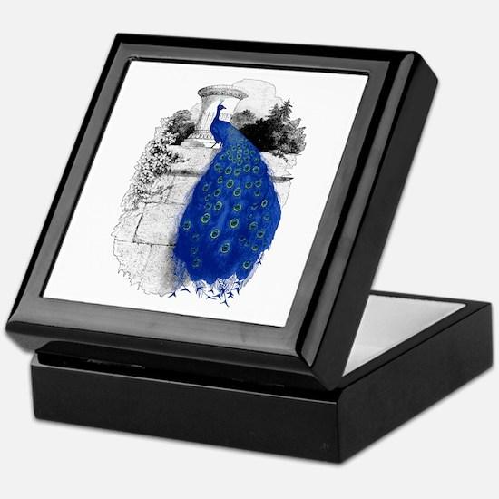 Blue Peacock Keepsake Box