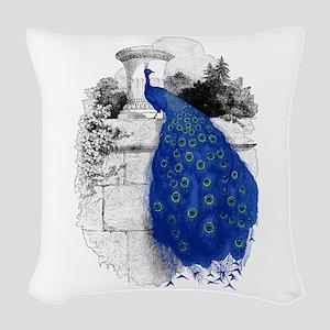 Blue Peacock Woven Throw Pillow