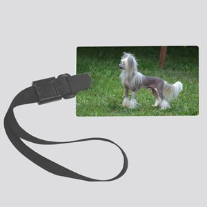 Small Chinese Crested Dog Large Luggage Tag