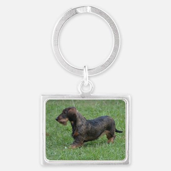 Black Wire Haired Dachshund Dog Landscape Keychain