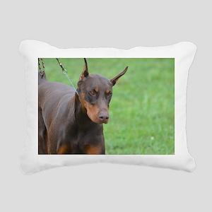 Cute Brown Doberman Pins Rectangular Canvas Pillow