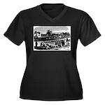 Vintage Engl Women's Plus Size V-Neck Dark T-Shirt