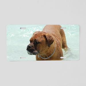 Swimming French Mastiff Aluminum License Plate