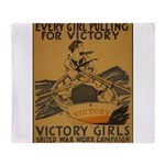 Vintage war effort rowing Throw Blanket