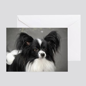 Black and White Papillon Dog Greeting Card