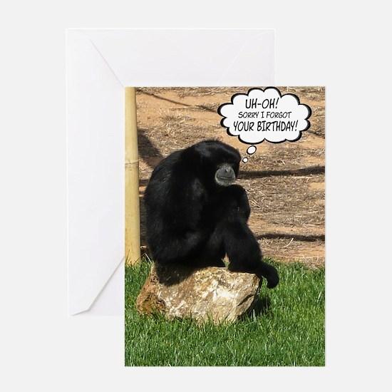 Humorous Belated Birthday Ape Greeting Card
