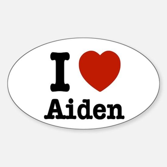 I love Aiden Sticker (Oval)