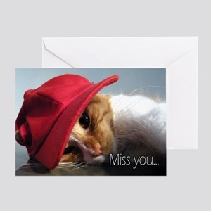 Cat Wearing Red Miss You Greeting Card