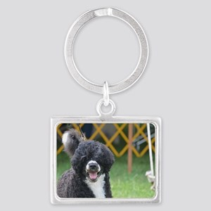 Cute Black and White Water Dog Landscape Keychain