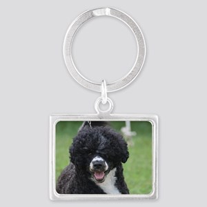 Adorable Portuguese Water Dog Landscape Keychain