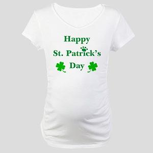 Happy St. Patricks Day W/Paw 209 Maternity T-Shirt