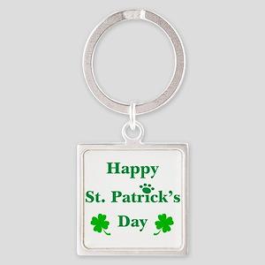 Happy St. Patricks Day W/Paw 209 Square Keychain
