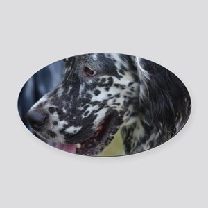 Profile of an English Setter Oval Car Magnet