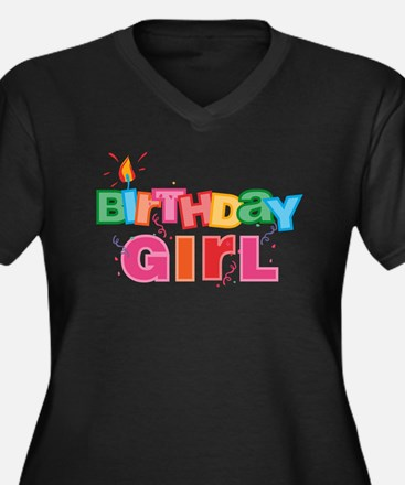 Birthday Girl Letters Women's Plus Size V-Neck Dar