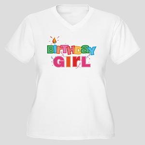 Birthday Girl Letters Women's Plus Size V-Neck T-S