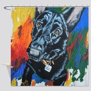 Grafitti German Shepherd Shower Curtain