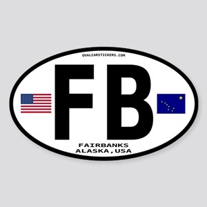 Fairbanks Alaska Euro Oval Sticker - FB