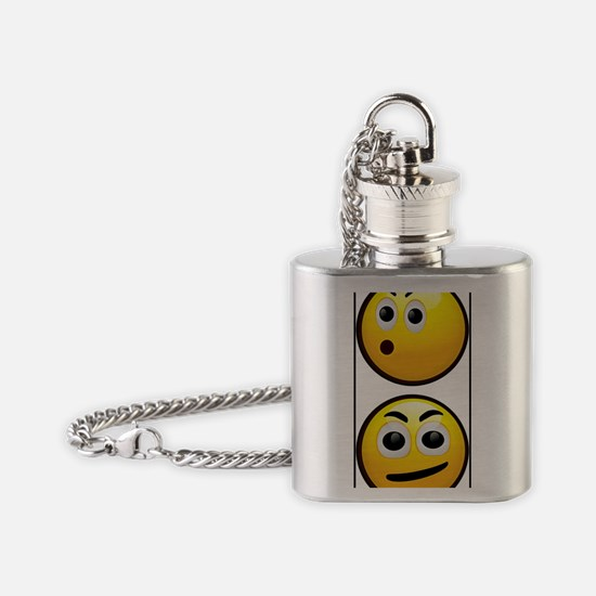 Yellow Smiley Flask Necklace