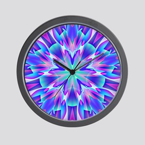 Psychedelic Blue and Pink Star Wall Clock