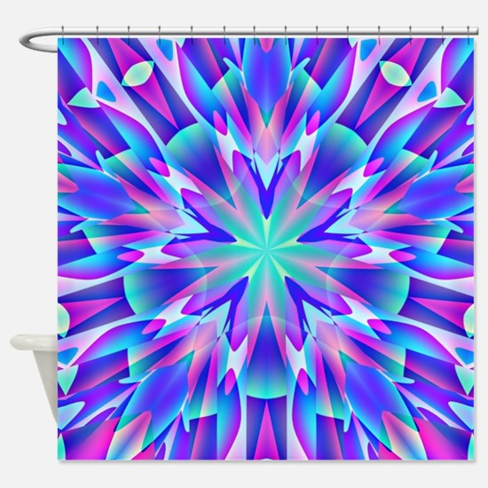 Psychedelic Blue and Pink Star Shower Curtain
