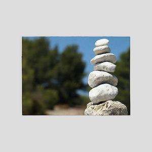 Stone Art Meditation 5'x7'Area Rug