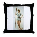 Vintage woman rower Throw Pillow