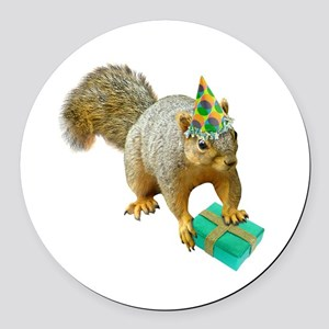 Birthday Squirrel Round Car Magnet