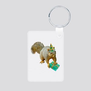 Birthday Squirrel Aluminum Photo Keychain
