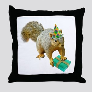 Birthday Squirrel Throw Pillow