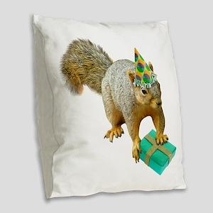 Birthday Squirrel Burlap Throw Pillow